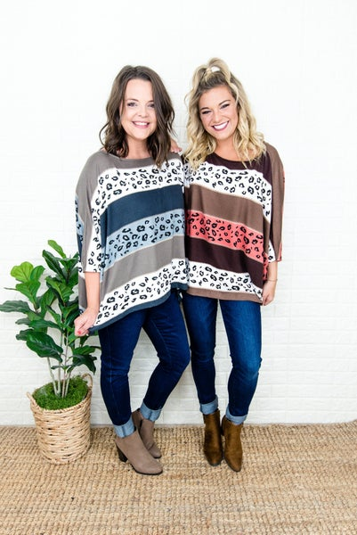Leopard Block Poncho Tee