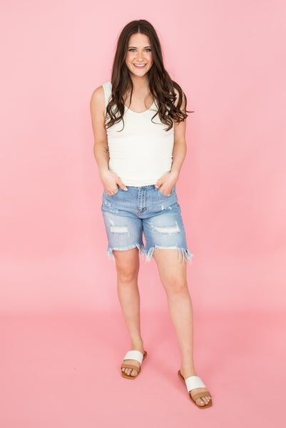 Fringe Out Cello Light Denim Shorts