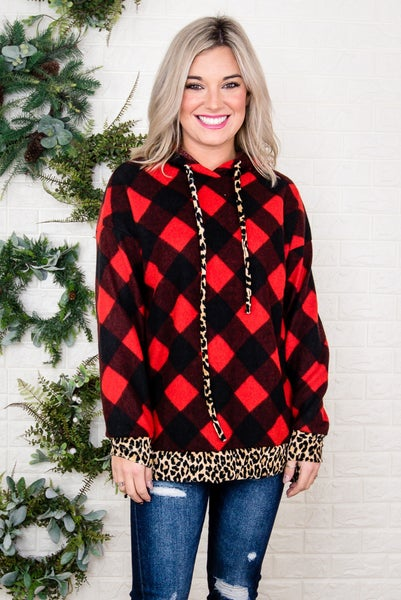 Leopard Plaid Plush Pullover *all sales final*