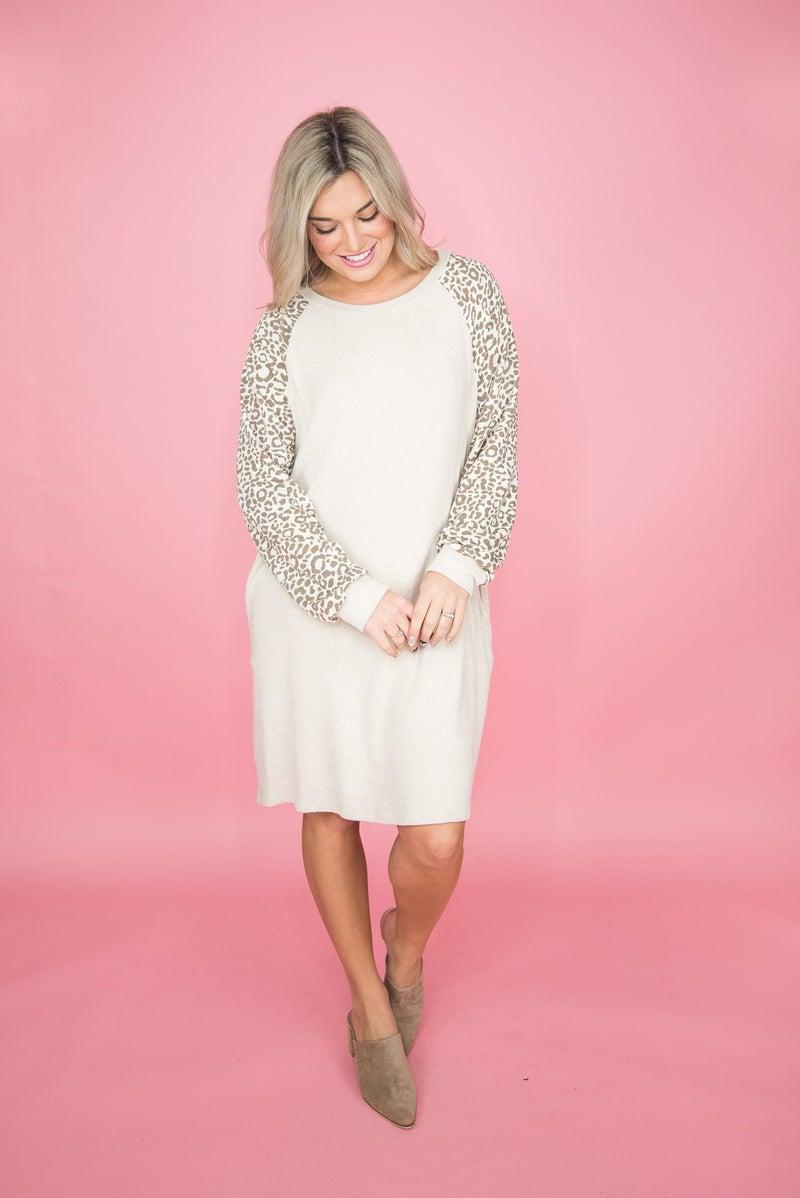 Oatmeal Leopard Dress