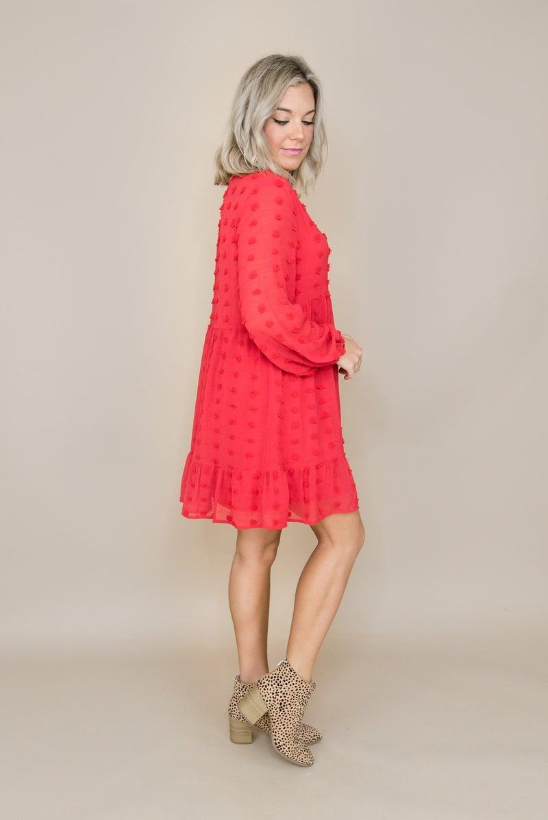 Red Swiss Dot Dress