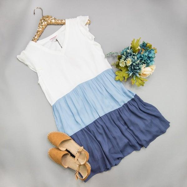 Shades of Blue Tier Dress