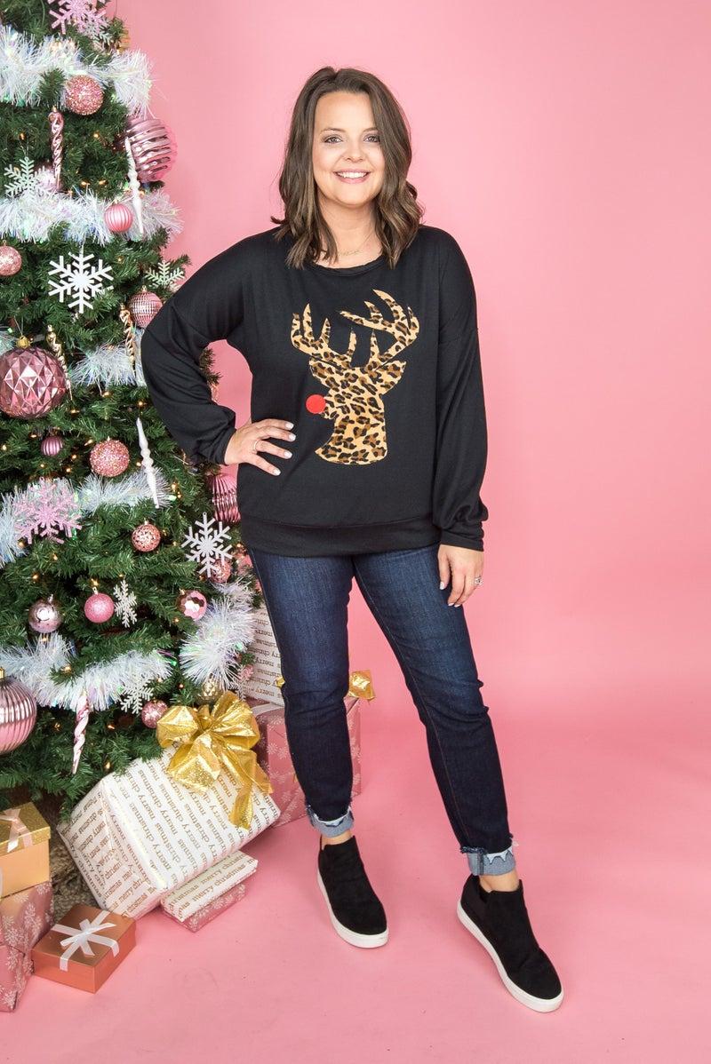 Leopard Rudolph Sweatshirt *all sales final*