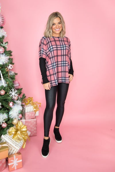 *FLAUNT FRIDAY*Pink Plaid Tee  //ALL SALES FINAL