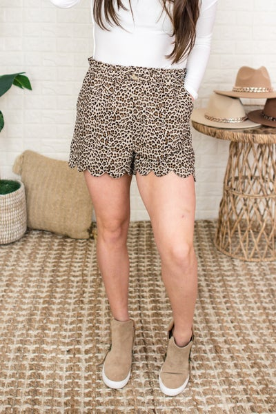 Leopard Scalloped Shorts
