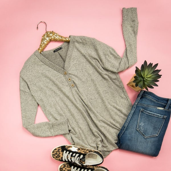 Taupe Heather Button Top