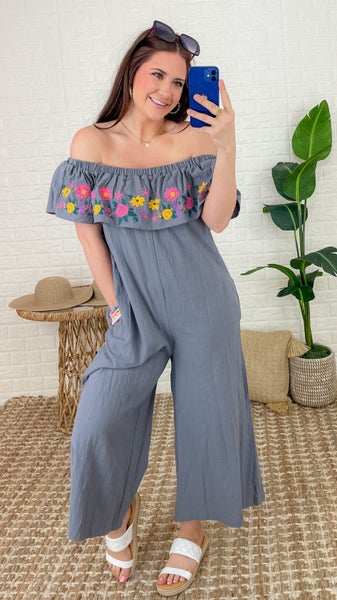 Floral Embroidery Jumpsuit