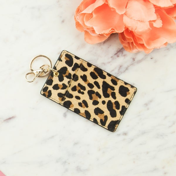 Leopard Card Holder Key Chain