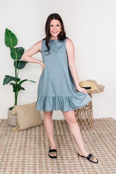 Sage Ruffle Dress