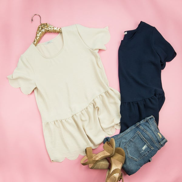 Dress Me Up Scallop Top  *all sales final*