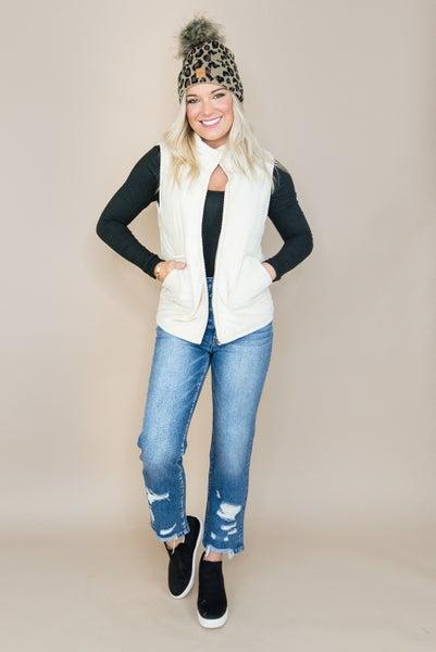 Ivory Textured Puffer Vest