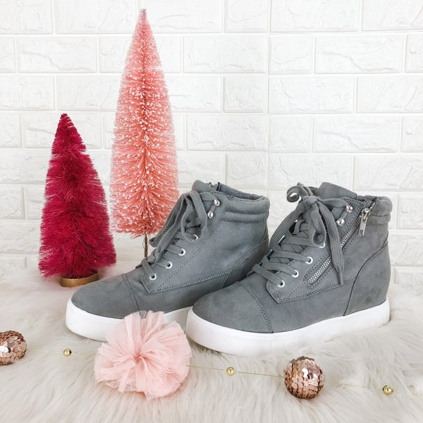 Gray Tie Them Up Sneaker Wedges