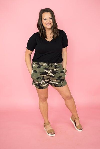 Camo Pleated Shorts