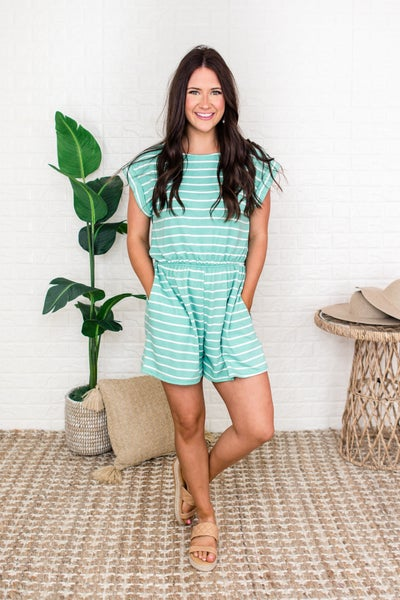 Mint Striped Romper
