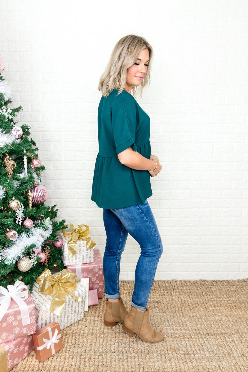 Emerald Creped Blouse