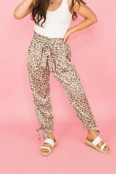 Satin Leopard Joggers