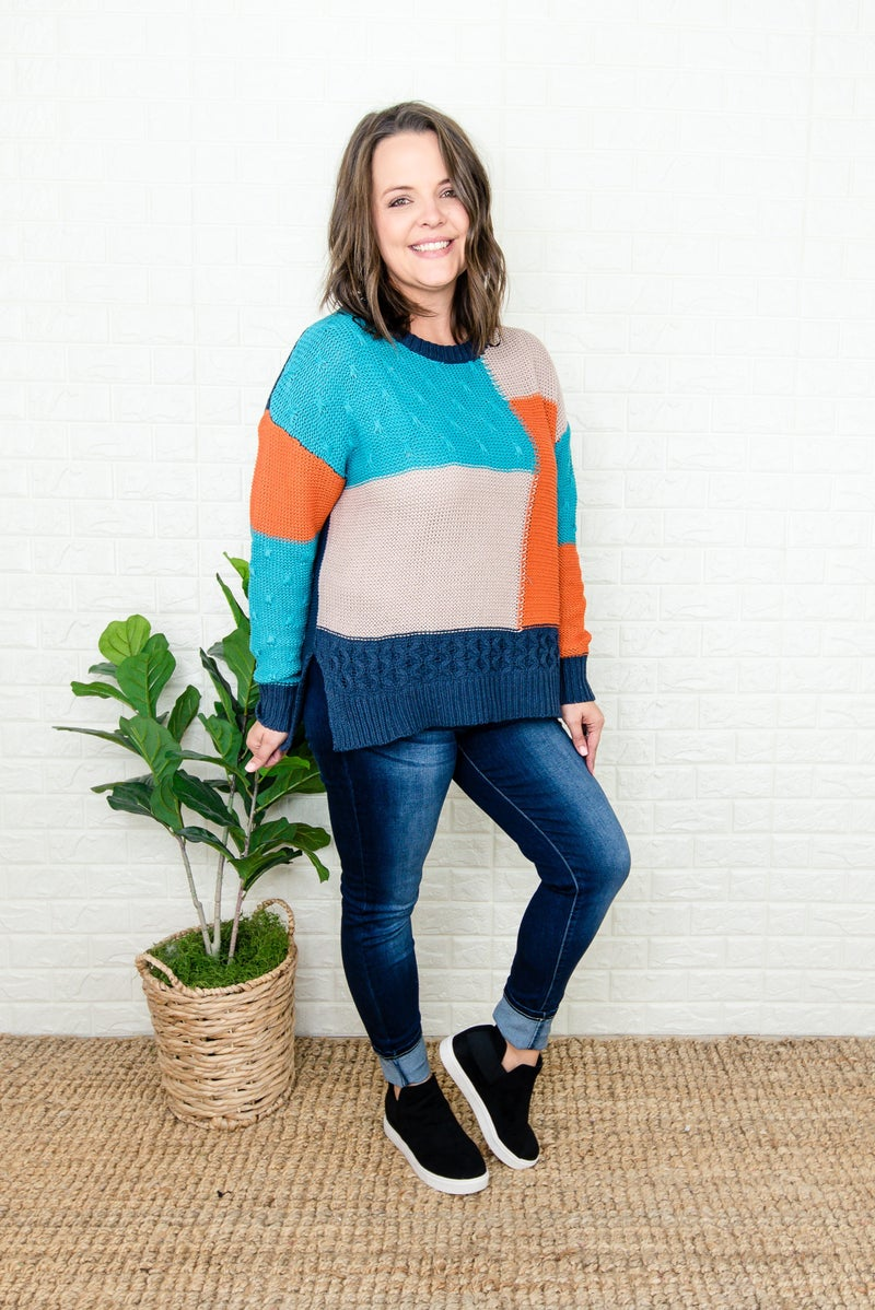 Shaded Blue Block Sweater