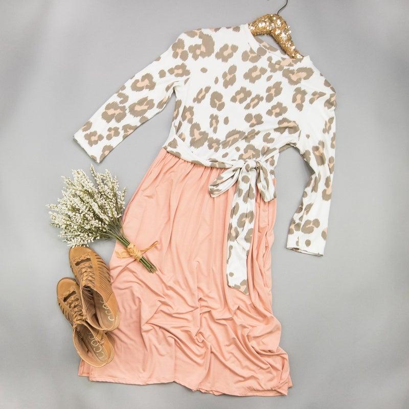 Blush Leopard Tie Dress *all sales final*