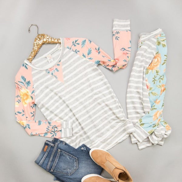 Floral&Stripes Tee *all sales final*