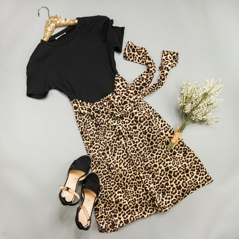 Black Leopard Dress *all sales final*