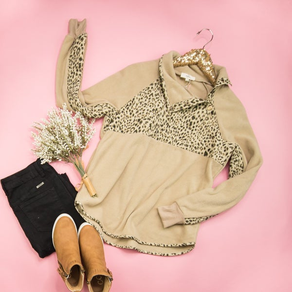 Leopard Snap Button Pullover *all sales final*