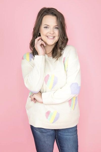 Retro Heart Cream Sweater