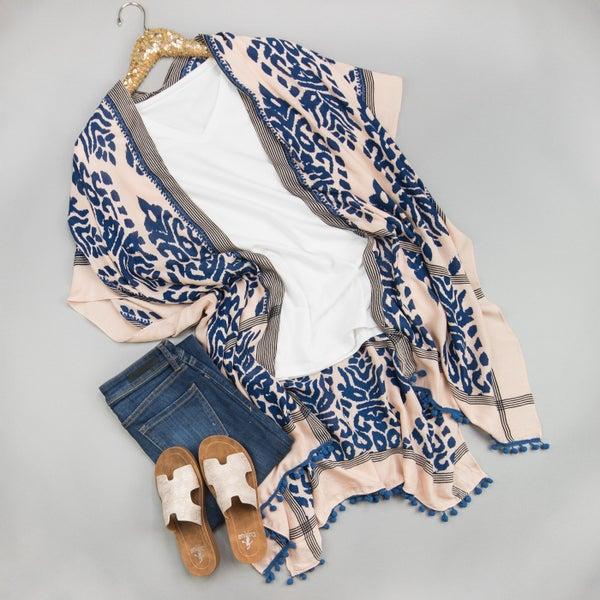 Navy Pom Kimono