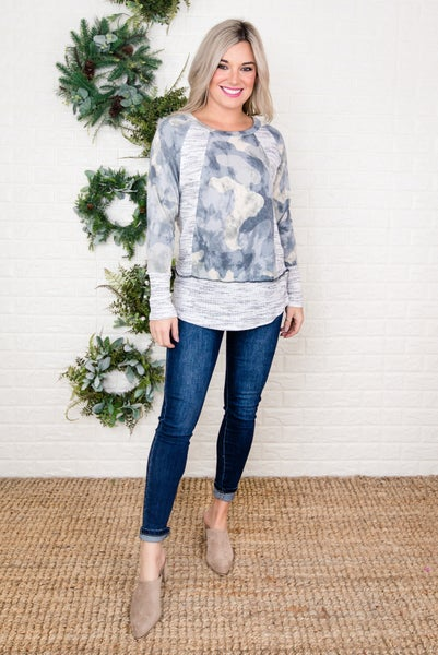 Camo Heathered Top