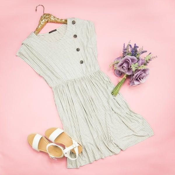 Gray Button Dress