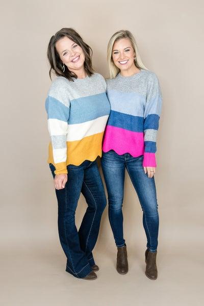 Color Block Scalloped Sweater