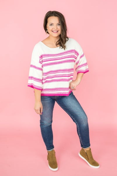 Hot Pink Transition Sweater *Final Sale*