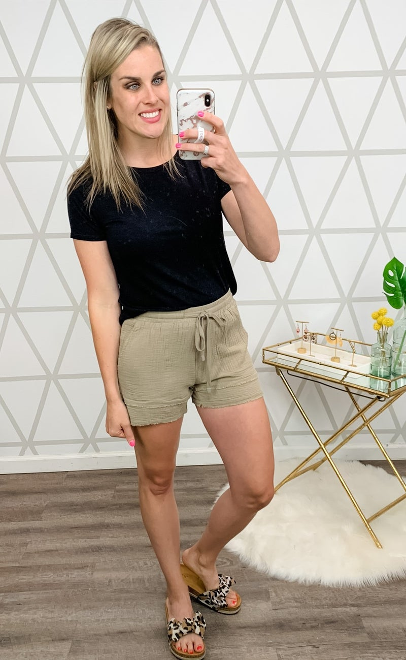 Muted Fringe Shorts *all sales final*