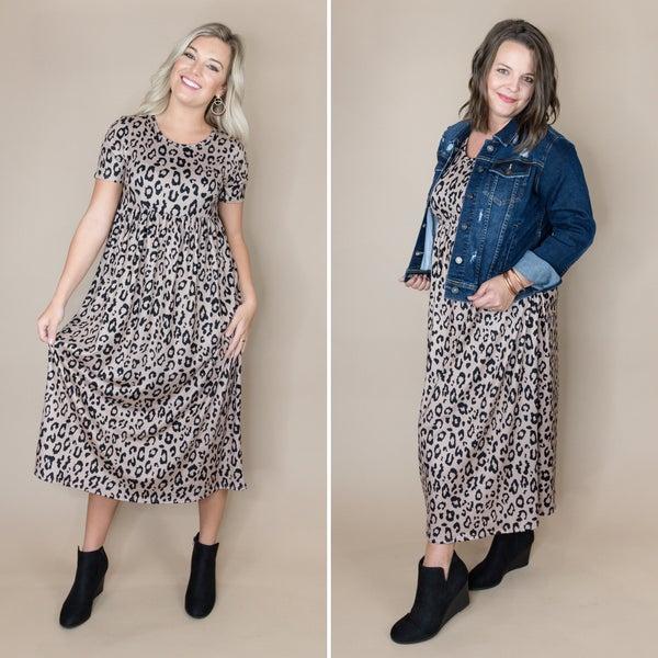 Taupe Leopard Midi Dress *all sales final*
