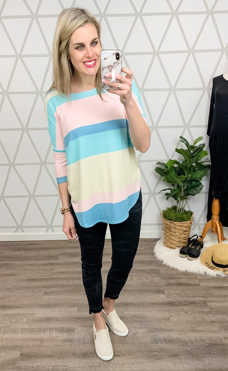 Shades of Spring Striped Top