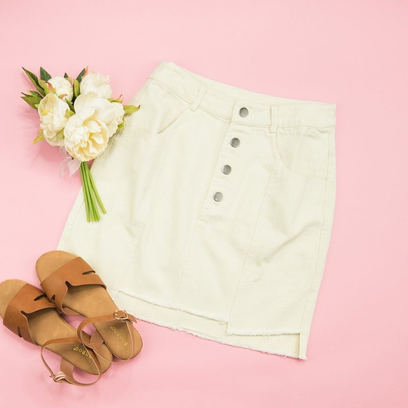 Cream Denim Skirt
