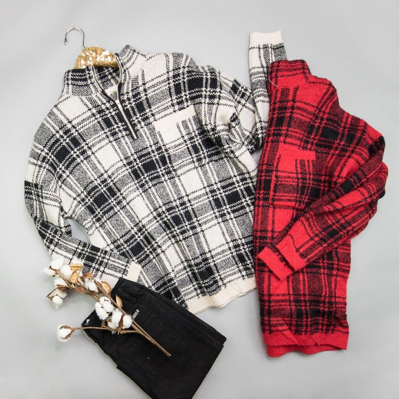 Plaid Sweater Pullover *all sales final*
