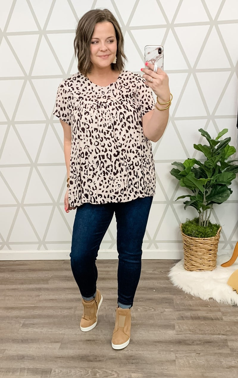 Pleated Leopard Blouse *all sales final*
