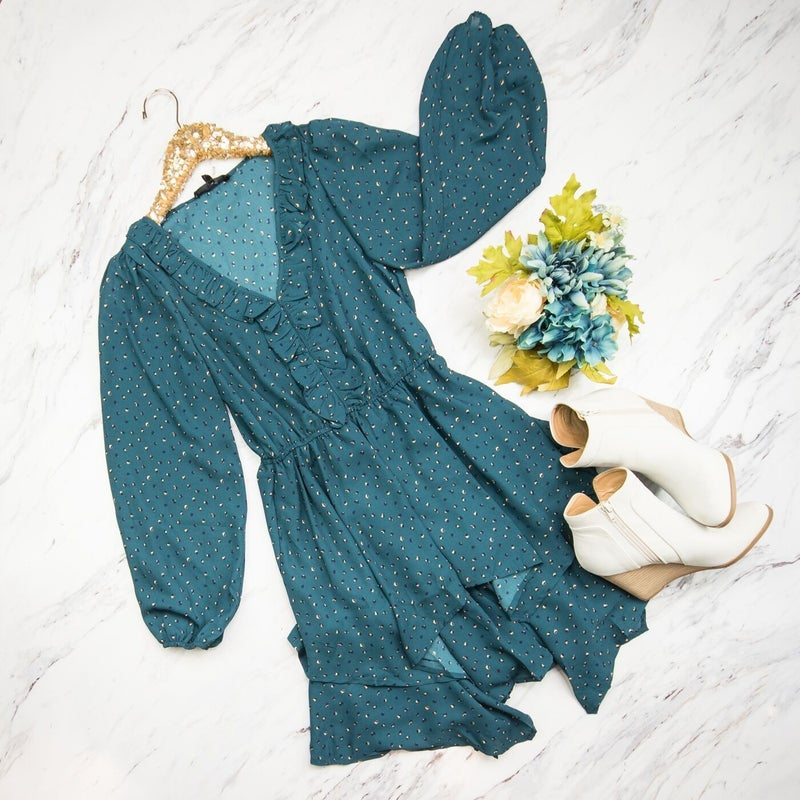 Teal Asymmetrical Dress *ALL SALES FINAL*