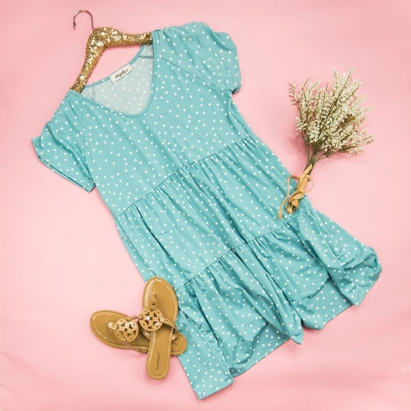 Summer Blue Polka Dot Dress