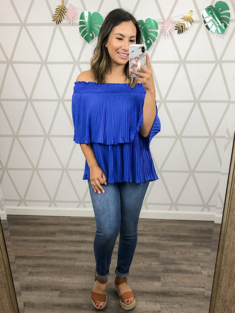 Happy Hour // Pleated Off The Shoulder Top *all sales final*