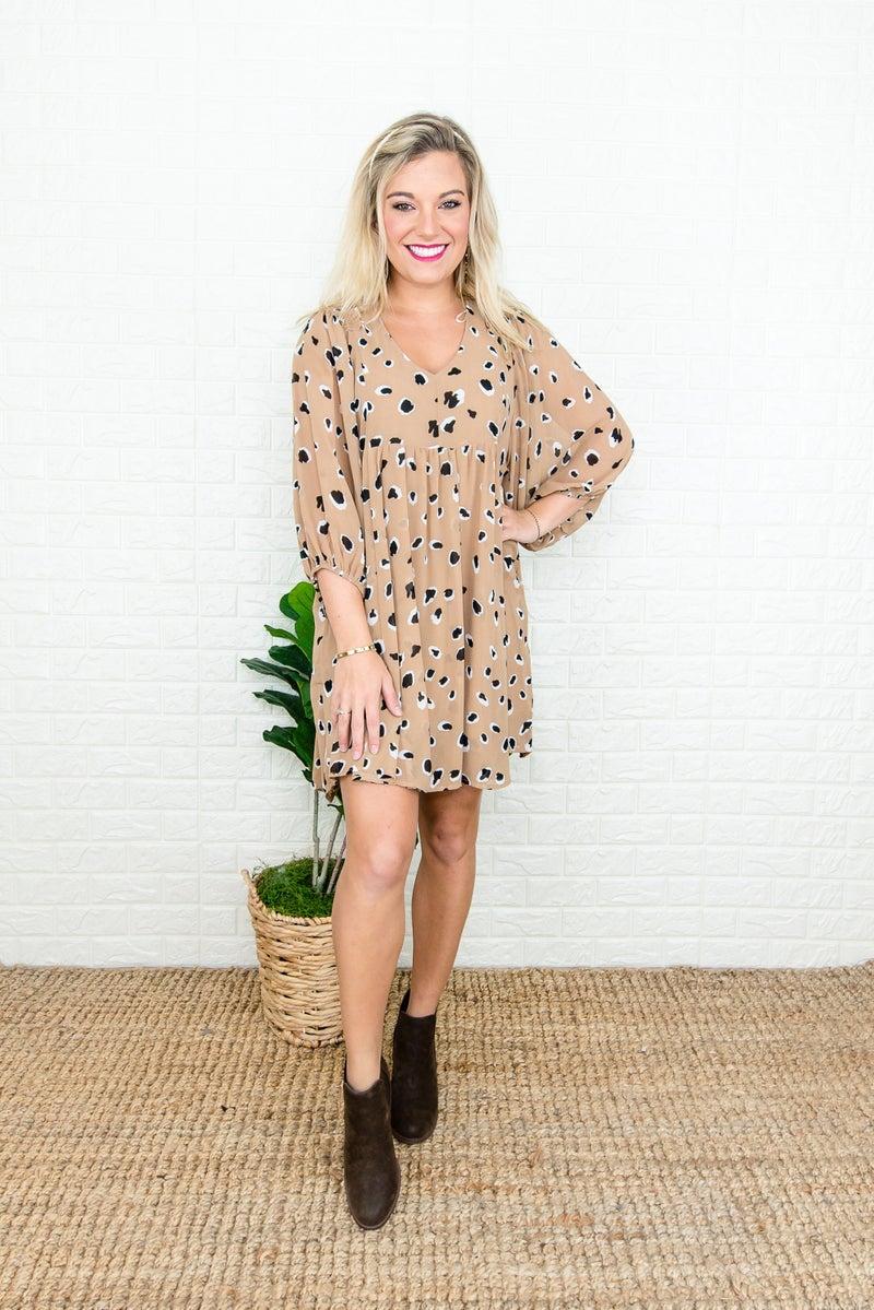 Black Spots Taupe Dress