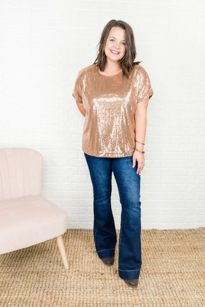 Rust Sequin Top