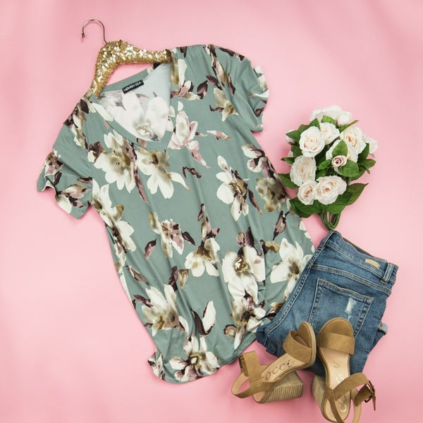 Smooth Satin Floral Top
