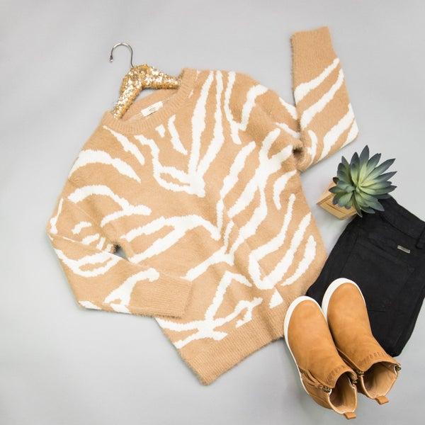 Neutral Zebra Sweater *all sales final*