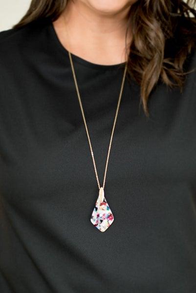 Drop Into Spring Acrylic Necklace