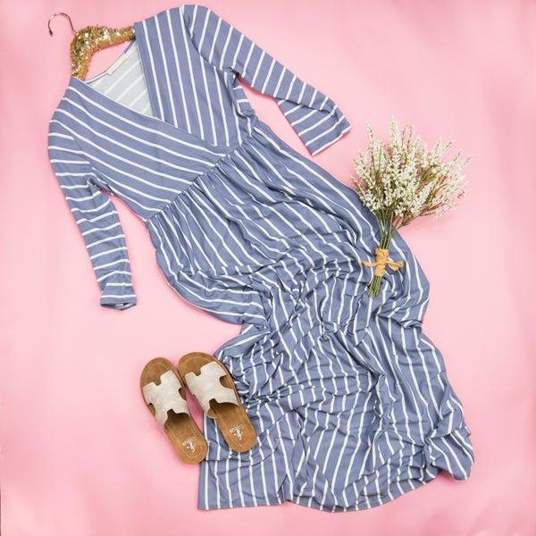 Blue Lavender Striped Maxi