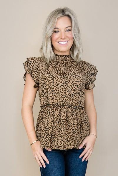 Leopard Ruffle Blouse