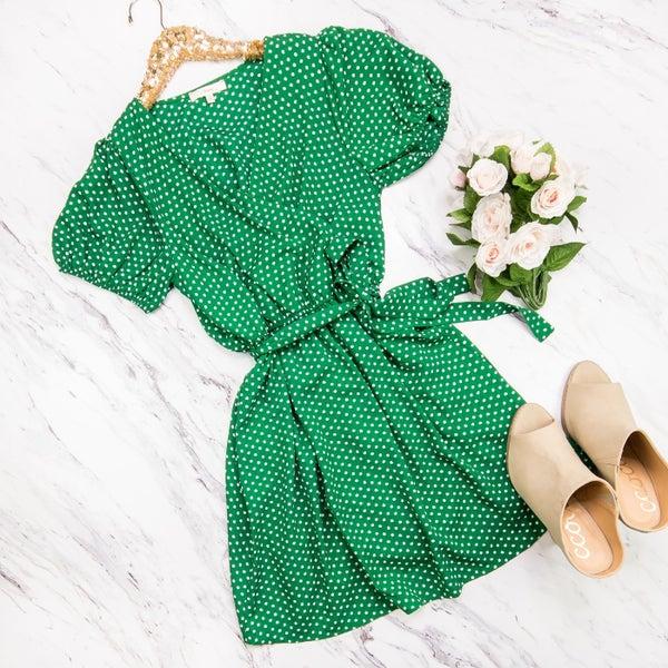 Kelly Green Polka Dot Dress