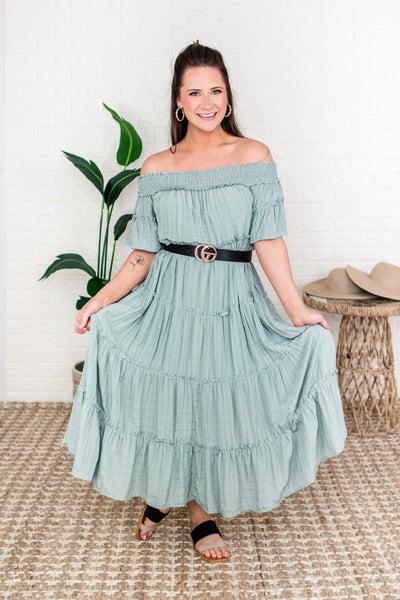 Sage Ruffled Tier Midi Dress