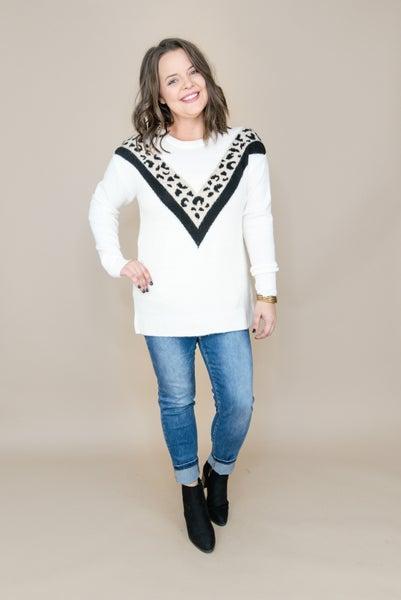Geo Leopard Staccato Sweater